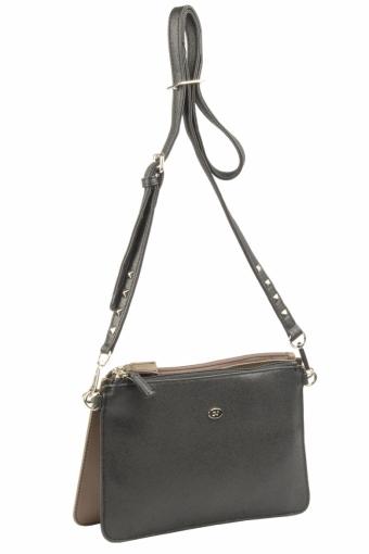 3573 CM D.TAUPE BLACK Женская сумка кросс-боди David Jones